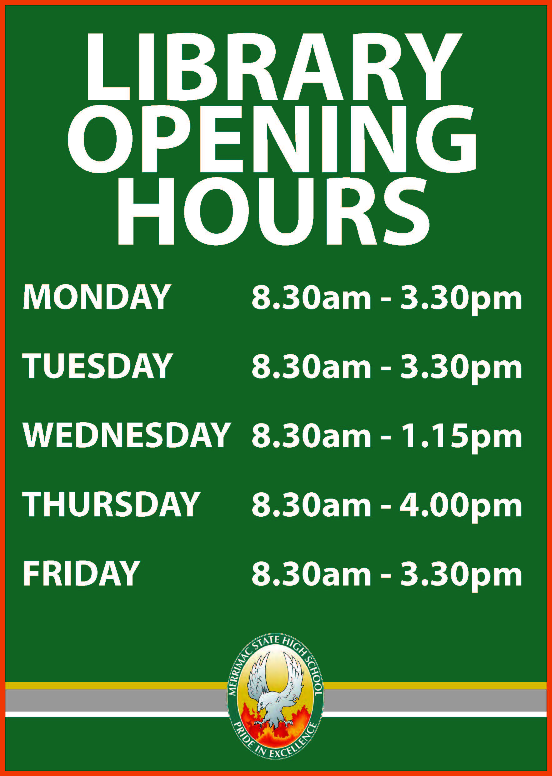 Library opening hours poster
