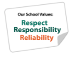 Our School values: Respect, Responsibility, Reliability